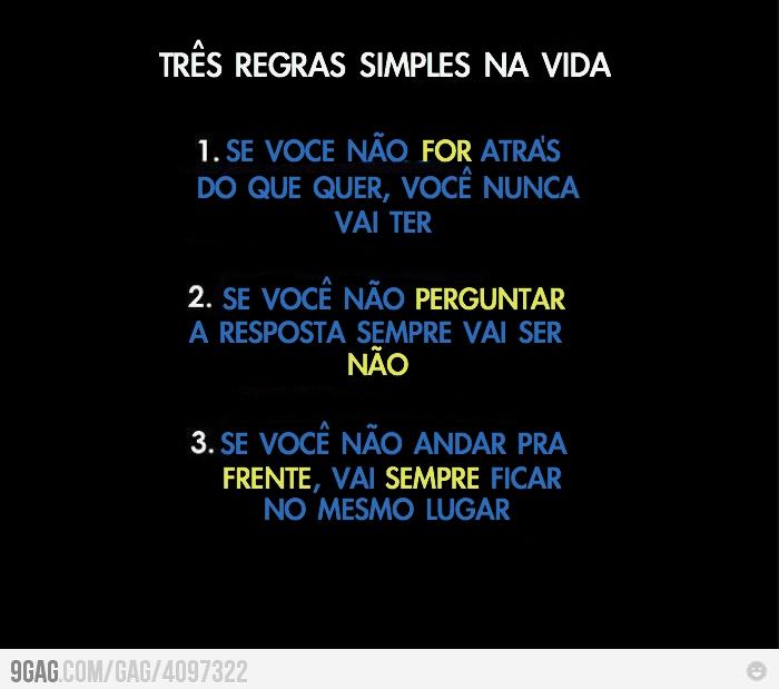 TRES REGRAS SIMPLES NA VIDA