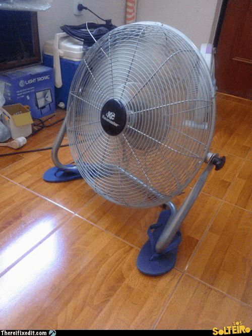 suporta para ventilador barulhento gambiarra chinelo