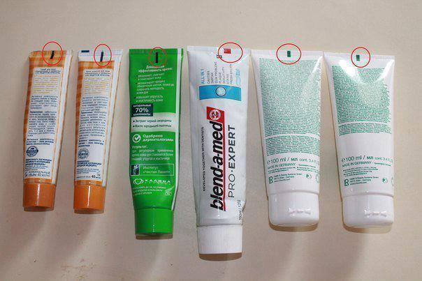 significado dos quadrados e retângulos na parte de trás de tubos creme pasta de dente shampoo