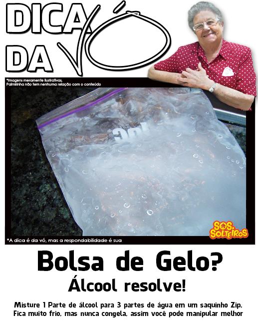 dica da vo bolsa de gelo alcool