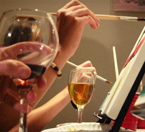vinho e pintura