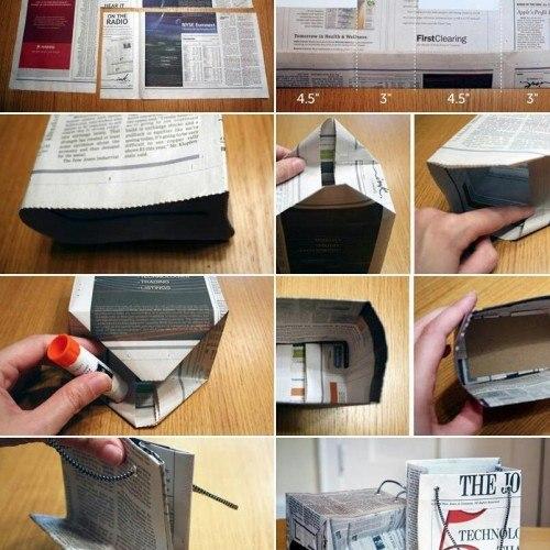 mini sacola de jornal