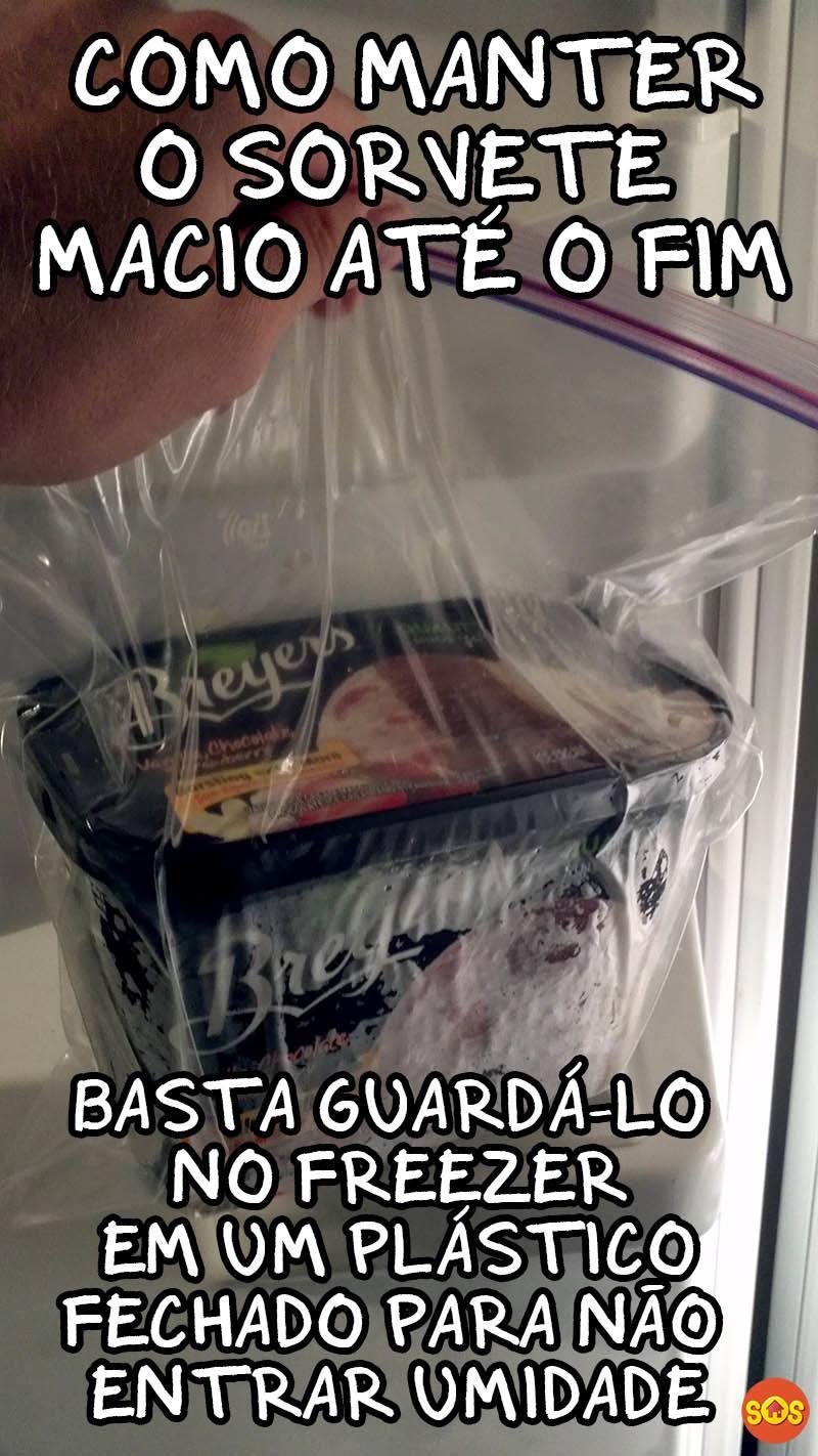 como manter o sorvete macio no freezer