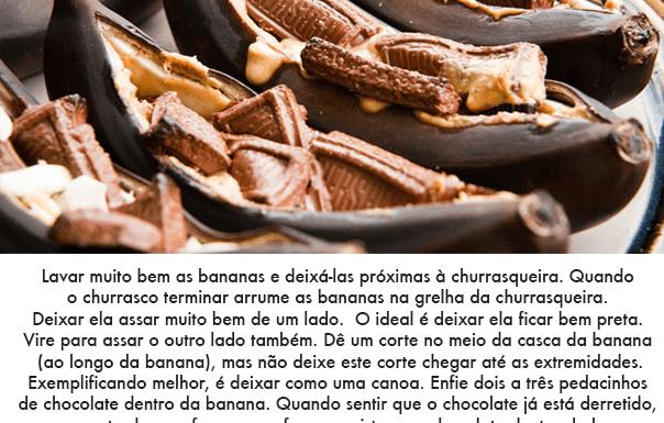 banana com chocolate na grelha churrasco
