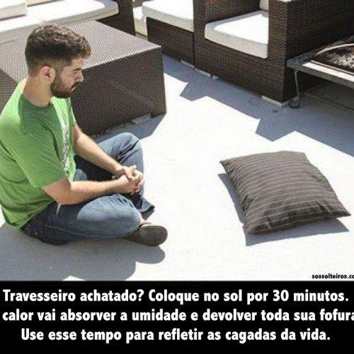 travesseiro achatado almofada calor sol reflexao