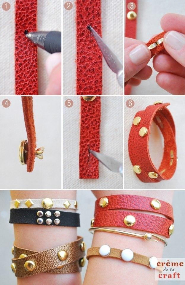 Craft-DIY-Project-Idea-Leather-Studded-Studs-Gold-Bracelet-624x960