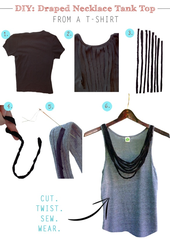 DIY-Project-How-To-Make-T-shirt-Tank-Top-Necklace-Fringe-Tutorial