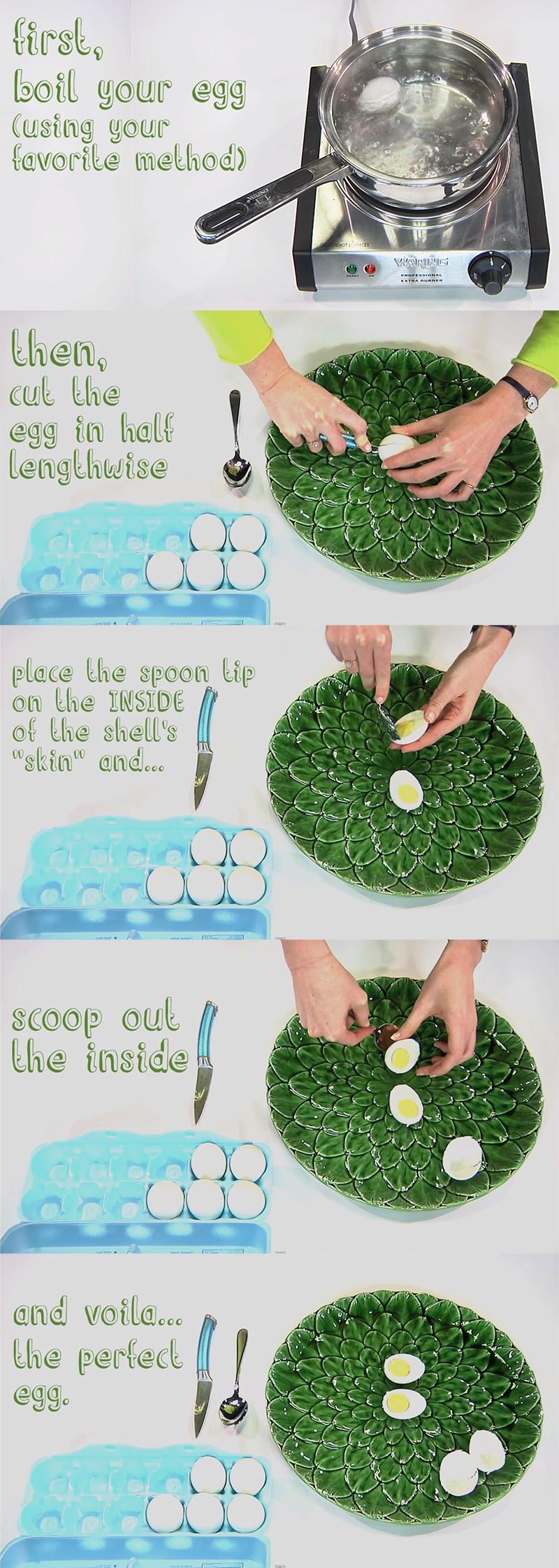 a melhor forma de desenformar o ovo cozido da casca
