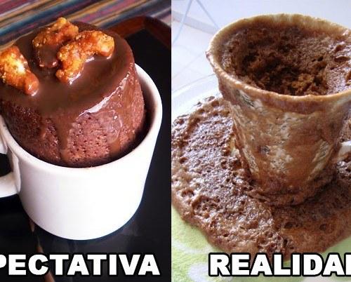 BOLO DE CANECA EXPECTATIVA REALIDADE