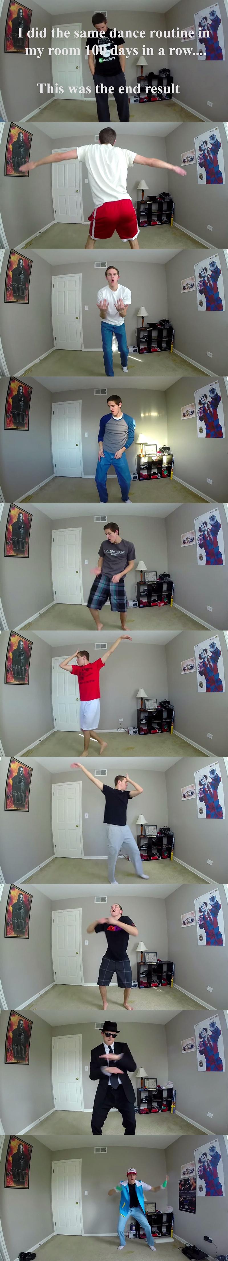 dancando a mesma musica por 100 dias