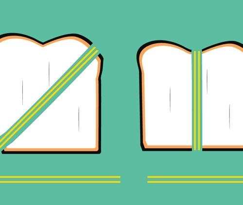 sanduiche diaogonal cortar