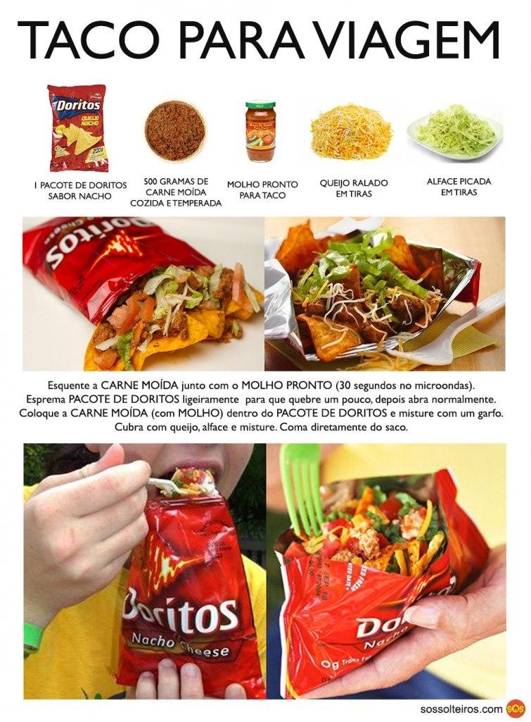 taco para viagem com doritos nacho