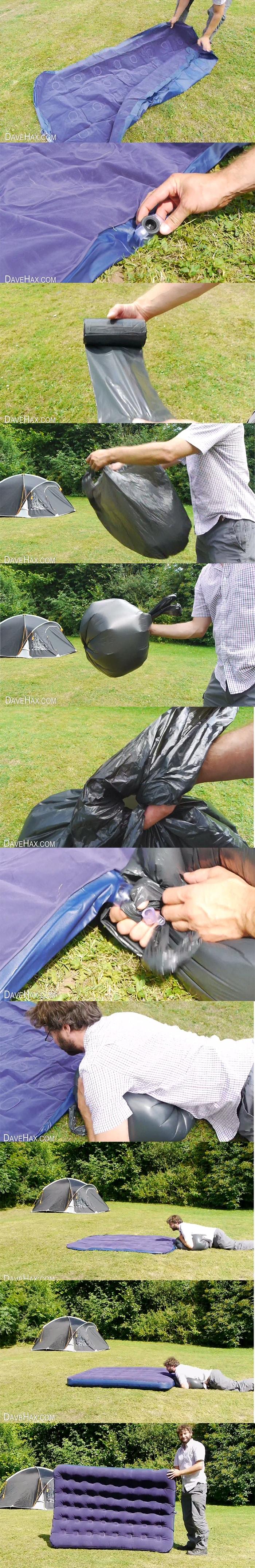 como encher um colchao inflavel com saco de lixo