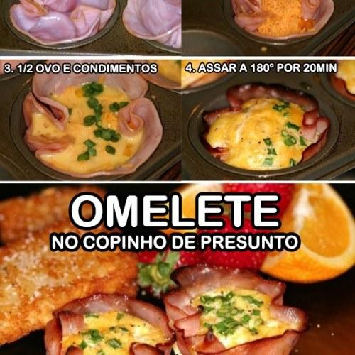 omelete no copinho de presunto