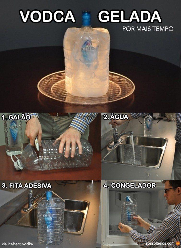 vodca gelada por mais tempo fora da geladeira