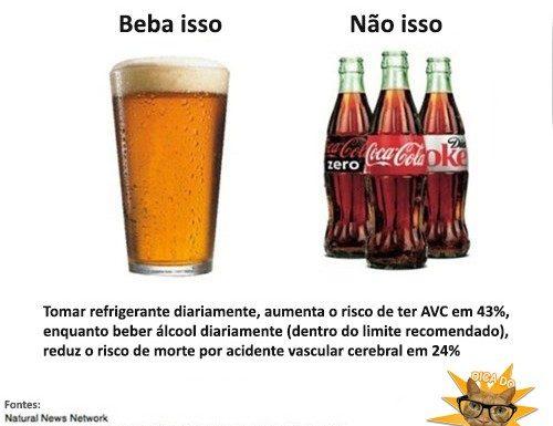 beba alcool nao refrigerante