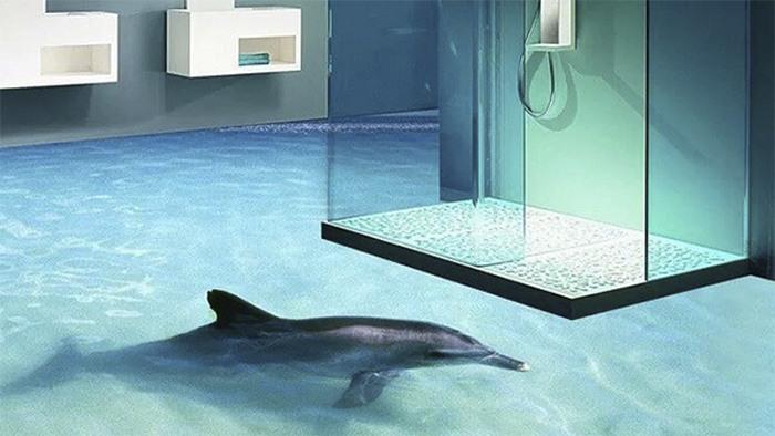 Pisos 3d levam o teu banheiro no meio do oceano for Pisos decorativos 3d