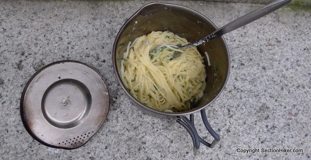 Cooking-Alpine-Spaghettin-in-the-1-Liter-Evernew-Titanium-Pasta-Pot