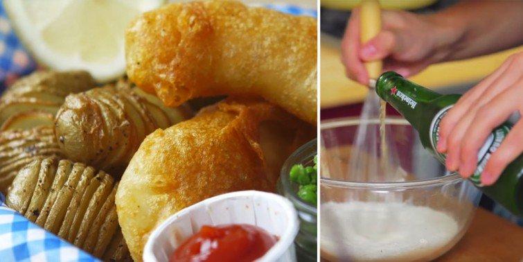 peixe batata fish chips cerveja
