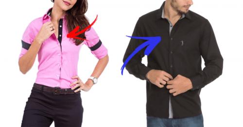 Existe uma diferença entre Camisas Masculinas e Femininas que você nunca  percebeu 2dad216004a