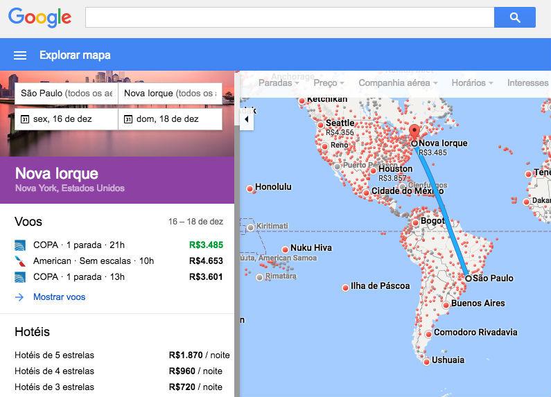 Google, https://www.google.com.br/flights/?f=0#search;f=GRU,CGH,VCP;t=JFK,EWR,LGA;d=2016-12-16;r=2016-12-18;mc=m