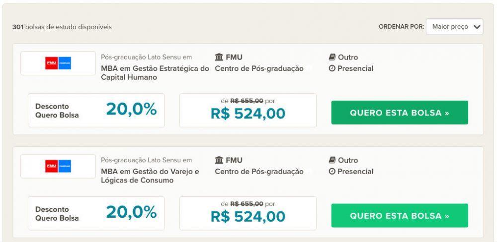 Reprodução - Quero Bolsa, Reprodução - Quero Bolsa, https://querobolsa.com.br/