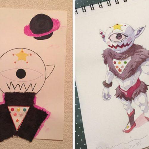 Lajkat, http://lajkat.se/den-har-pappan-ritar-om-sin-sons-fantasifulla-teckningar-till-riktiga-konstverk/