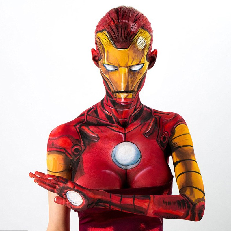 Daily Mail, http://www.dailymail.co.uk/femail/article-3449042/Artist-transforms-comic-book-heroes-villains-using-JUST-body-paint-one-taking-15-hours-perfect.html