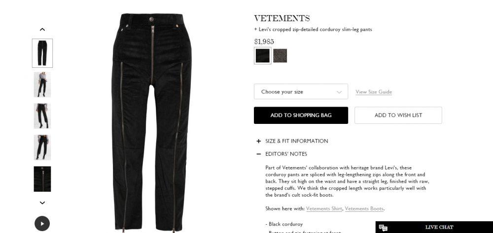 Net-a-porter, https://www.net-a-porter.com/us/en/product/821177/Vetements/-levi-s-cropped-zip-detailed-corduroy-slim-leg-pants
