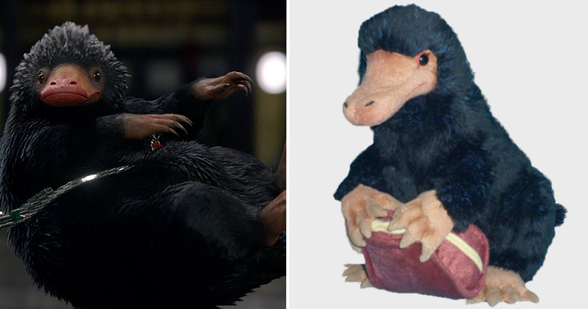 Montagem | Harry Potter Wiki e The Harry Potter Shop, http://harrypotter.wikia.com/wiki/Niffler e https://www.harrypotterplatform934.com/products/niffler-plush