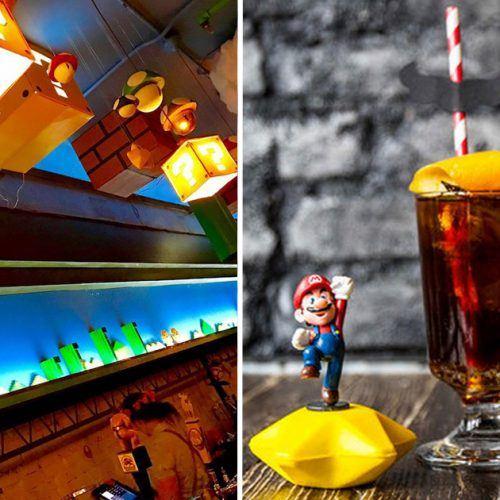 Montagem | Food and Wine e Hypeness, http://www.foodandwine.com/news/super-mario-cherry-blossom-bar e http://www.hypeness.com.br/2017/04/abriu-um-bar-inspirado-em-super-mario-e-os-fas-estao-enlouquecidos/