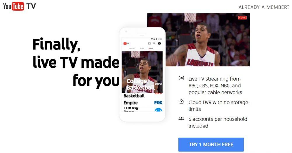 YouTube TV, https://tv.youtube.com/welcome/