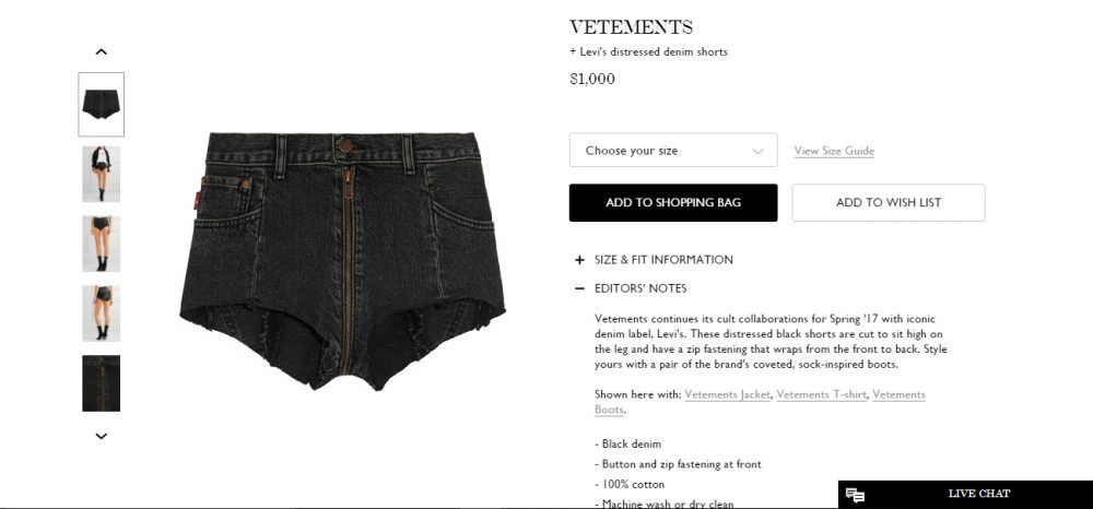 Net-a-porter, https://www.net-a-porter.com/us/en/product/821174/Vetements/-levi-s-distressed-denim-shorts