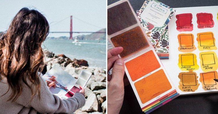 caderno com tintas
