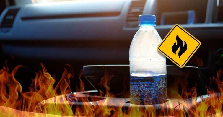 agua fogo carro garrafinha