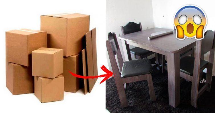 moveis feitos com papelao caixas