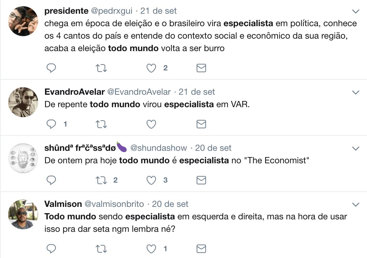 Twitter - Reprodução, https://twitter.com/search?q=todo%20mundo%20especialista&src=typd