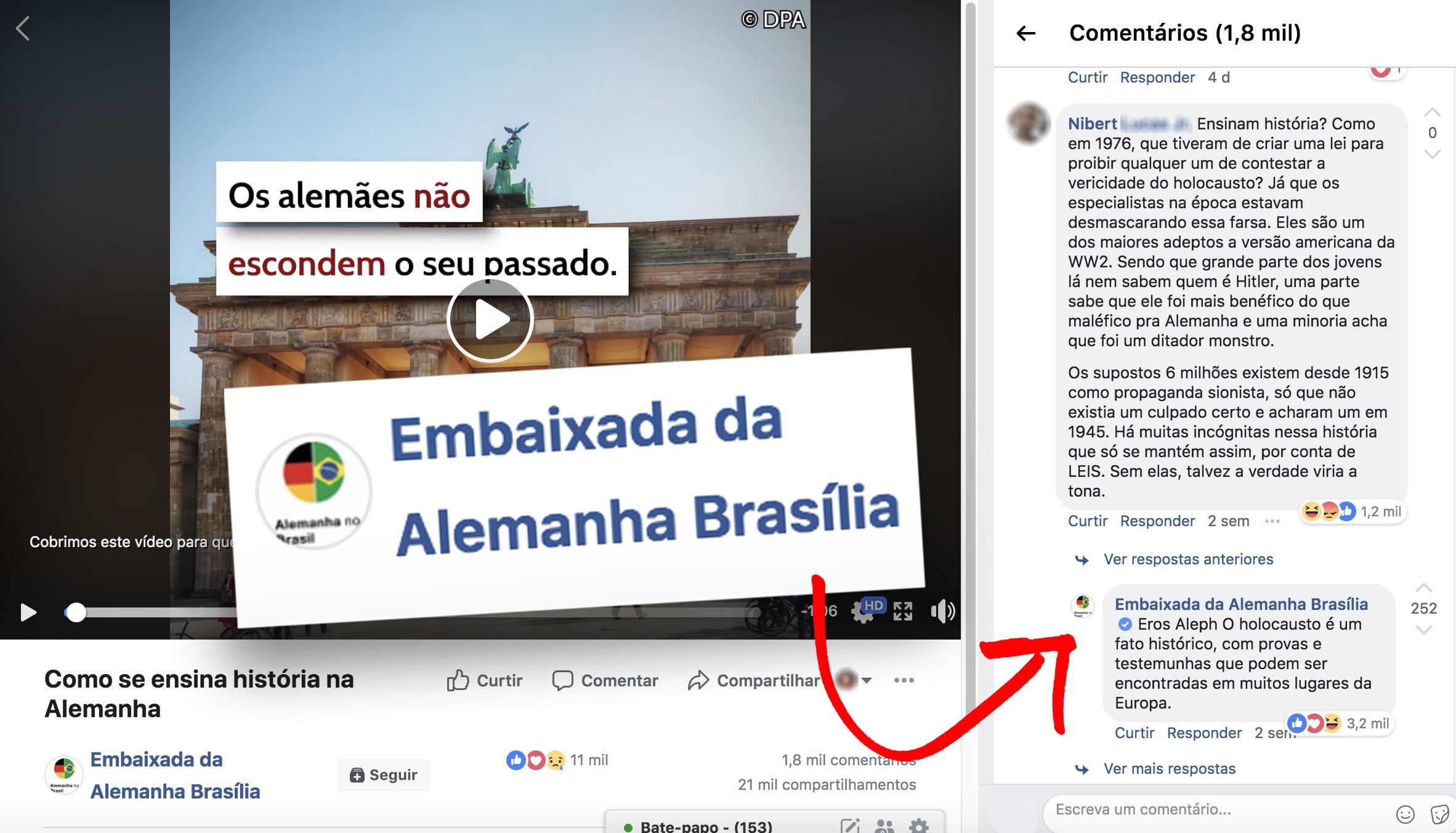 Embaixada da Alemanha - Facebook - Reprodução, https://www.facebook.com/EmbaixadaAlemanha/videos/1658739200897794/