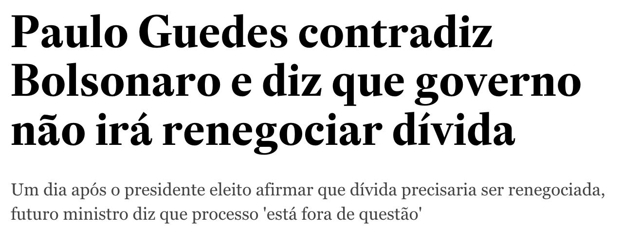 Estadão/Reprodução, https://economia.estadao.com.br/noticias/geral,paulo-guedes-contradiz-bolsonaro-e-diz-que-governo-nao-ira-renegociar-divida,70002589849