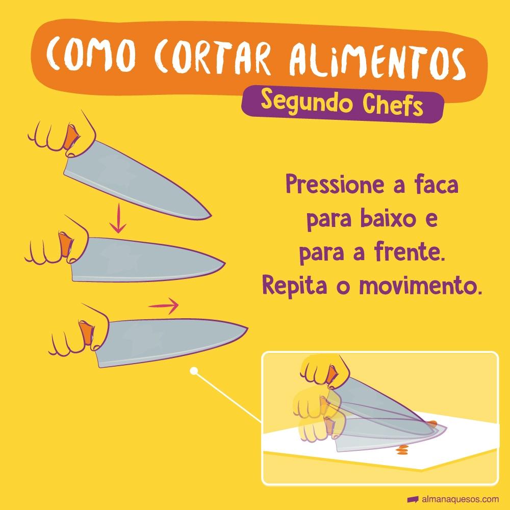 Como cortar alimentos, segundo os Chefs Pressione a faca para baixo e para a frente. Repita o movimento.