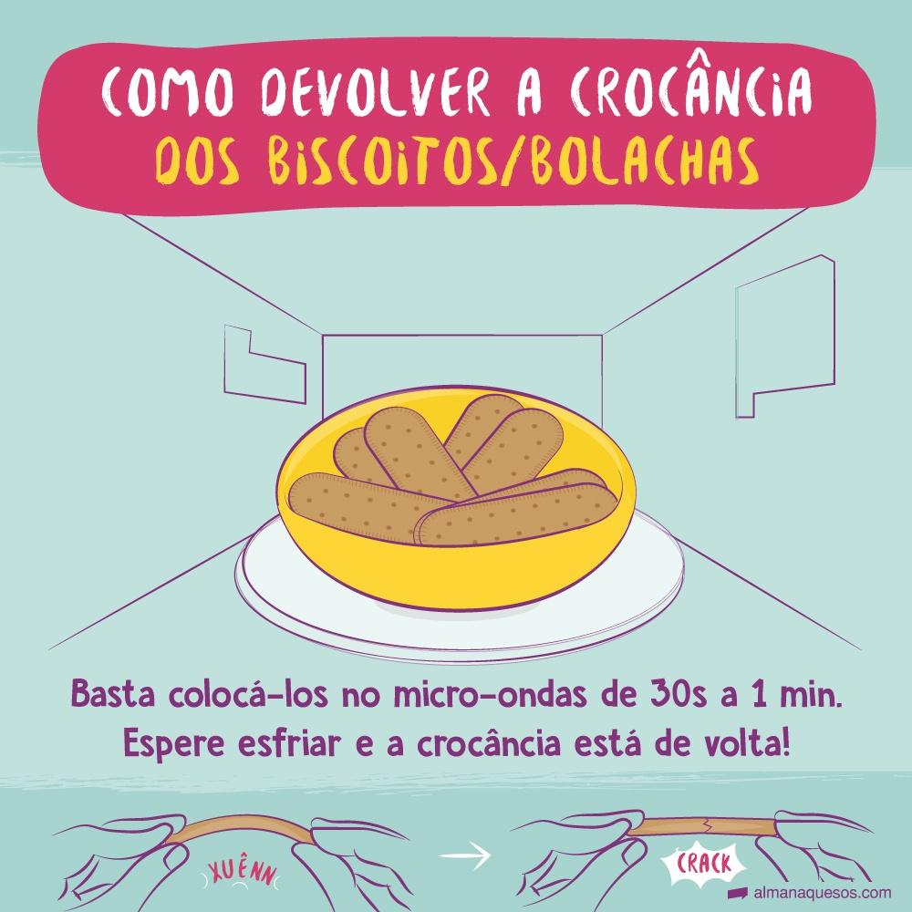 Devolver a crocância dos biscoitos/bolachas Basta colocá-los no micro-ondas de 30s a 1 min. Espere esfriar e a crocância está de volta! ( onomatopeia: CRACK)