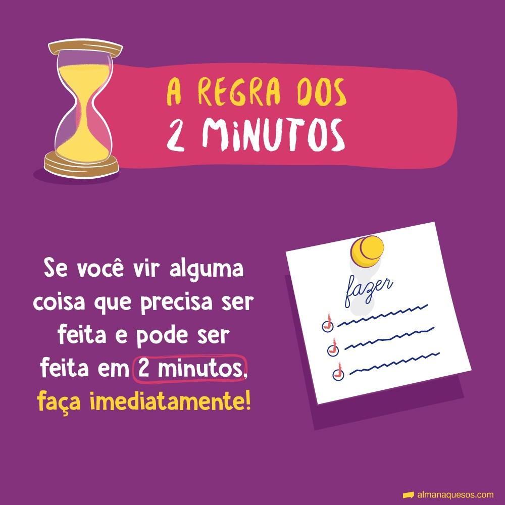 A regra dos 2 minutos Se você vir alguma coisa que precisa ser feita e pode ser feita em 2 minutos, faça imediatamente!