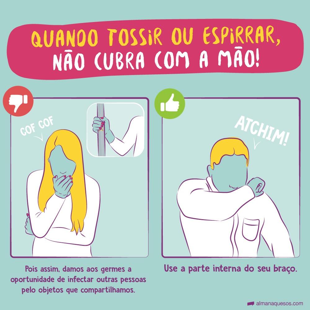 Quando tossir ou espirrar, não cubra com a mão! Pois assim, damos aos germes a oportunidade de infectar outras pessoas pelo objetos que compartilhamos. Use a parte interna do seu braço.