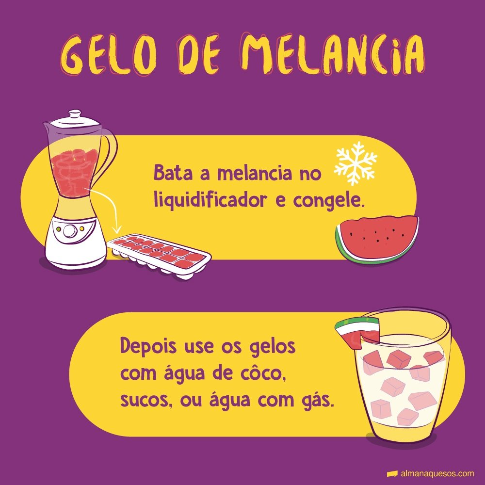 Gelo de melancia Bata a fruta no liquidificador e congele. Depois use os gelos com água de côco, sucos, ou água com gás.