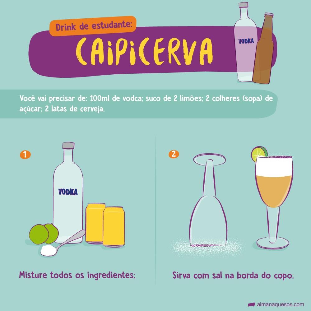 Drink de estudante: Caipicerva 1-Misture bem 2 doses (100ml) de vodca com suco de dois limões, 2 colheres de sopa de açúcar e 2 latas de cerveja. 2- Sirva com sal na borda do copo. Rende dois copos.