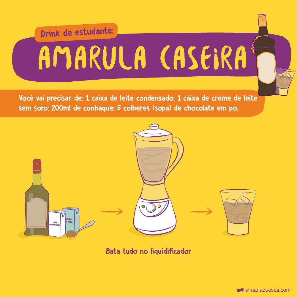 Drink de estudante: Amarula caseira Bata no liquidificador: 1 lata de leite condensado, 1 lata de creme de leite sem soro, 200ml de conhaque e 5 colheres de sopa de chocolate em pó.