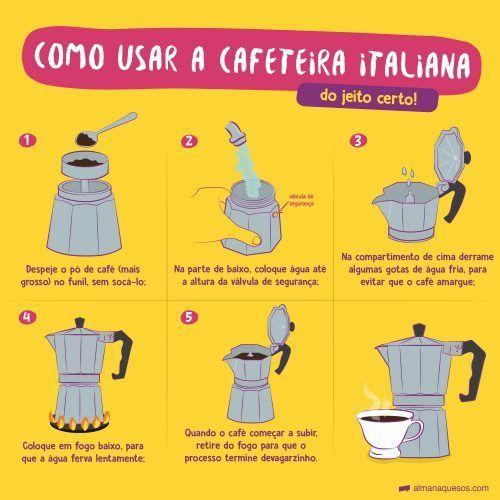 Como usar a Cafeteira Italiana do jeito certo! 1. Despeje o pó de café (mais grosso) no funil, sem socá-lo; 2. Na parte de baixo, coloque água até a altura da válvula de segurança; 3. Na compartimento de cima derrame algumas gotas de água fria, para evitar que o café amargue; 4. Coloque em fogo baixo, para que a água ferva lentamente; 5. Quando o café começar a subir, retire do fogo para que o processo termine devagarzinho.