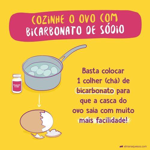 Cozinhe o Ovo com Bicarbonato de Sódio Basta colocar 1 colher (chá) de bicarbonato para que a casca do ovo saia com muito mais facilidade!
