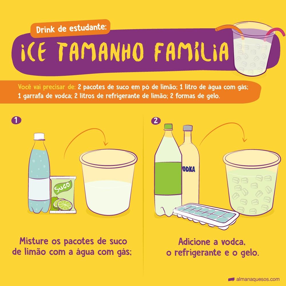 Drink de estudante: Ice tamanho família 1-Misture 2 pacotes de suco em pó de limão com a 1 litro de água com gás; 2-Adicione 1 garrafa de vodca, 2 litros de refrigerante de limão e 2 formas de gelo.