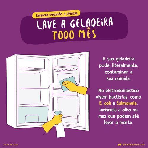 LIMPEZA SEGUNDO A CIÊNCIA LAVE A GELADEIRA TODO MÊS A sua geladeira pode, literalmente, contaminar a sua comida. No eletrodoméstico vivem bactérias, como E. coli e Salmonela, invisíveis a olho nu mas que podem até levar a morte. Fonte: Microban